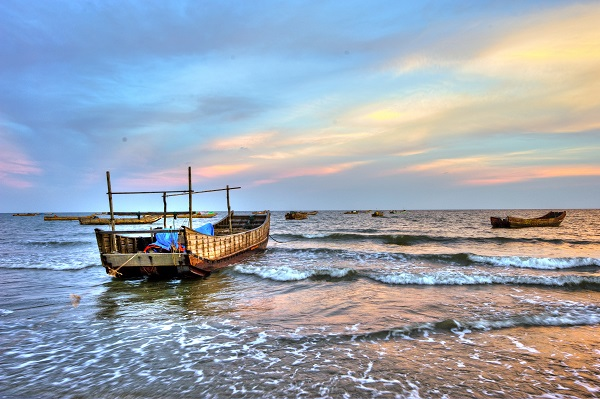 Tra Co beach, a significant stop-over on approaching Vietnam